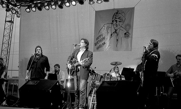 Guy Clark with Waylon Jennings and Johnny Cash singing with him